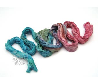 Rainbow ombre boho crinkle long fashion silk scarf Red Blue