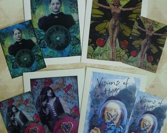 SPECIAL SET of FOUR Greeting Cards or Atc Prints Set  Customers Choice Art therapy collage recovery