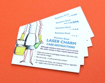 25 Instruction Cards Charm Care Instructions for Stainless Steel Charms Z467