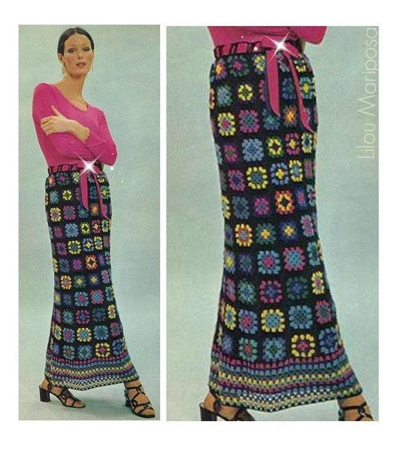 Patron pdf de tejido en crochet falda maxi larga de cuadros