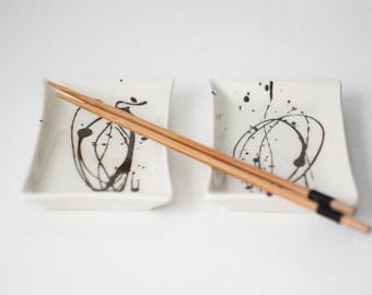 Two porcelain sushi plates, ceramic sushi plates