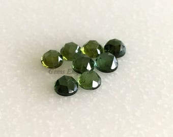 Green Tourmaline 3 mm Rose Cut Round Cabochons. African Origin. Good Color and Luster. Price per piece.