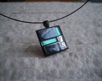 Black and green mosaic necklace, square pendant, choker glass, handmade in Quebec