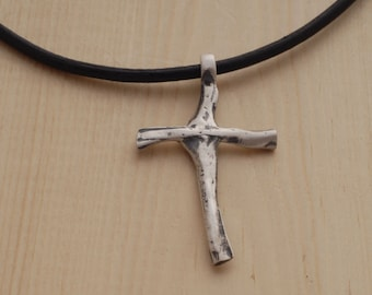 Unique Cross Necklace for Men, Sterling Silver Men's Cross Pendant, Handmade Rustic Cross for him ST695