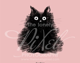 Black Cat Art Print Illustration Cute Cat Drawing Nursery Pet Portrait - Duster