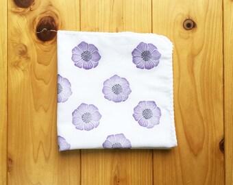 purple anemone flower handkerchief | ladies cotton hankie | hand stamped fabric face wipe | eco friendly nose wipe | nature lover gift