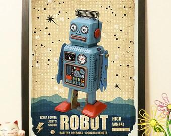 Japanese Robot Blue - japan toy - Vintage Japan paper Dictionary Print