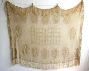 Golden Crochet Fringe Tablecloth