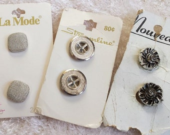 Vintage Silver Toned Metal Buttons, Classic Vintage Buttons, Six buttons, 3 sets of 2 buttons each