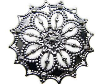 Filigree : 10 Antique Silver Filigree Stampings | Connectors | Filigree Links | Platinum Filigree Metal Stampings  007.J5
