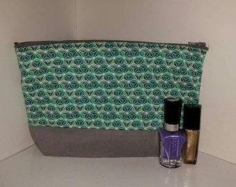 Green and Gray Cosmetic Bag, Geometric Cosmetic Bag, Green and Gray Makeup Bag