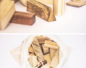 Building Wooden Blocks, Blocks in Wood, Nordic Vintage, Baby Blocks, Set of 25 Wood Blocks.