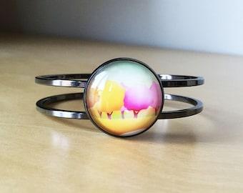 Autumn Bangle-25 mm Glass Cabochon-Statement Bracelet-Gunmetal Bangle-Music Glass Jewelry-Hot Pink, Yellow, Light Blue-Gift Box