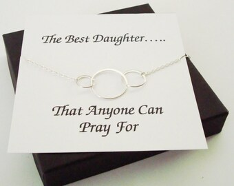 Large Triple Circle Infinity Silver Bracelet ~Personalized Jewelry Gift Card for Daughter, Step Daughter, Daughter in Law, Bridal Party