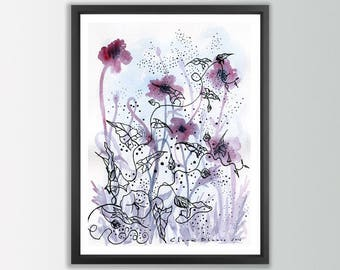 Floral wall art. Floral Watercolor print. Abstract flowers art print. Floral prints wall art. Abstract floral art. Modern wall art