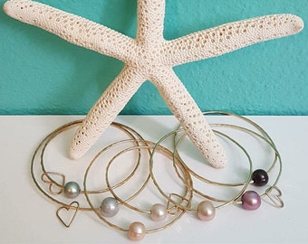 Hammered 14k Gold Bangles w/ Pearl - Hawaiian Jewelry