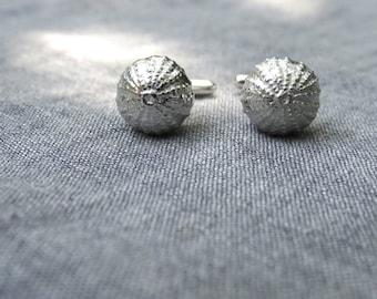 Silver sea urchin cuff links