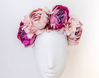 purple statement flower crown // spring racing flower crown / spring carnival headpiece / spring races flower headband / flower fascinator