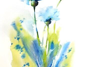 Spring Flower Watercolor Print, Abstract Field Flower, Blue Cornflower Watercolor Painting, Modern Flower Garden Art, Blue Wall Decor, Zen