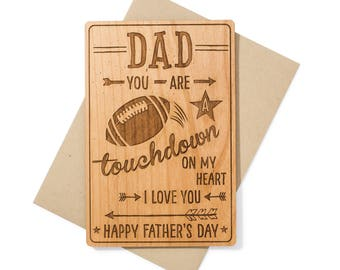 Football Dad Fathers Day Card. Sports Fan Dad Wood Card. Birthday Card for Dad for Him.