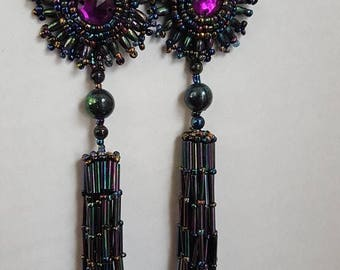 Vintage Extra Long Iridescent Beaded Earrings with Purple Cabochon