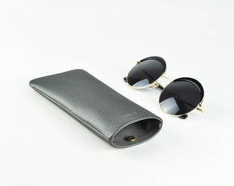 Glasses Case, Sunglasses Case, Glasses Holder, Phone Case, Black Pattern, Magnet Button