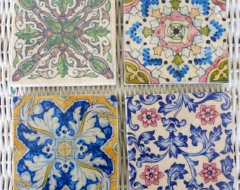 Colorful Moroccan tile coasters - Travertine Coasters - Stone Coasters - Decorative tile coasters - set of 4 - Marble coasters - coaster set