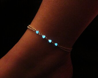 Hearts anklet  glow in the dark // sterling silver
