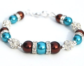 Turquoise and Chocolate Brown Pearl Rhinestone Bracelet, Fall Wedding, Bridesmaid Jewelry, Turquoise Brown Wedding
