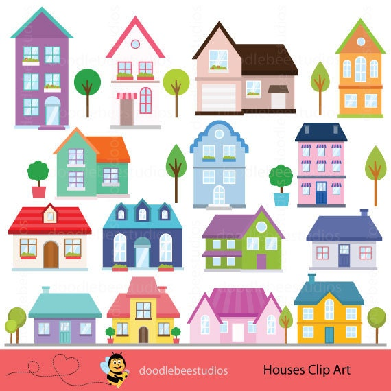 houses clipart houses clip art buildings clipart cottage rh etsy com house clipart pinterest house clipart pinterest