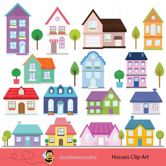 houses clipart houses clip art buildings clipart cottage rh etsy com houses clipart images houses clip art free