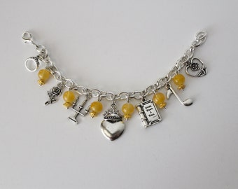 Beauty and the Beast Charm Bracelet Disney Inspired Jewelry Princess Belle Beauty Beast Silver Charm Bracelet Disney bound Belle Fairy Tale