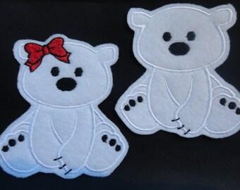 Polar Bear Patch, Polar Bear Iron On, Polar Bear Felt Girl or Boy Iron On Patch