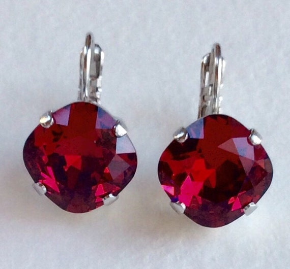 Swarovski Crystal 12MM Cushion Cut, Lever- Back Drop Earrings - Designer Inspired - Ruby Red - On SALE - FREE SHIPPING