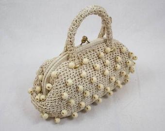 50s vintage bag, straw handbag, cream white bag, rockabilly bag, made in italy, straw handbag, raffia white bag, 50s original