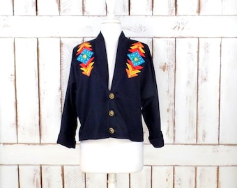 Vintage black cotton Southwestern cropped Tribal print blazer jacket/Native American jacket/Alfredos Wife