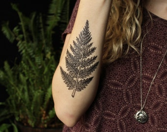 Fern Leaf Temporary Tattoo, Forest Leaves Tattoo, Black Line Tattoo Design, Nature Tattoo