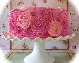 """Fake Rosette Cake Hot Pink & Pink Frosting Color Combo Approx. 9""""w x 4.25""""h Fab Photo Prop, First Birthday Decor"""