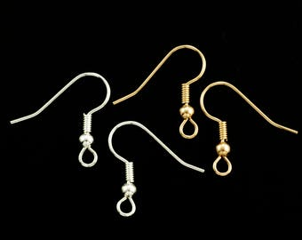 20 pairs - Basic Bead and Coil Ear Wires - Gold or Silver Plated - 100% Guarantee