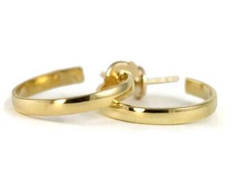 18k Gold Post Hoops - 18k Partial Hoop Earrings - Yellow Gold Half Hoops