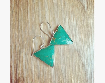 So many angles- Turquoise earrings Geometric jewelry Sterling silver earrings Minimalistic earrings Simple jewelry Turquoise jewelry