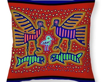 Kuna Indian Birds with Fish Mola Design Tote Bag - Birds with Fish Throw Pillow - Laptop Bag - Diaper Bag - Airline Travel Bag - Kuna Indian