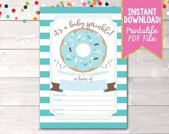 Printable Boys Baby Sprinkle Invitation Instant Download Printable PDF with Donut Sprinkles & Stripes