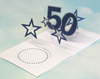 50th Birthday Card Spiral Pop Up 3D - Blue Stars – 50th Birthday Spiral Pop Up Card - PopUp Card