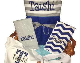 Baby baskets etsy baby gift basket custom for boy or girl monogrammed hooded towel burp cloths negle Images