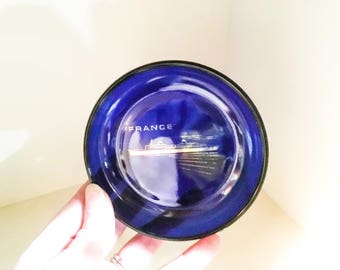 Vintage France Souvenir Dish, Small Cobalt Blue France Plate, Small France Dish