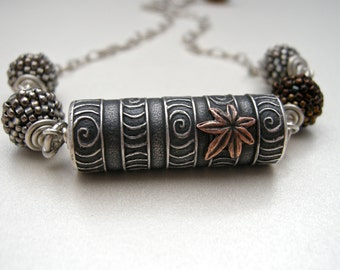anne choi focal bead necklace, falling leaf necklace, handmade necklace