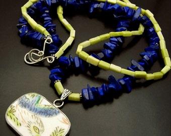 SKYLARK ~ Lapis Lazuli, Butter Jade, Sterling Silver Necklace