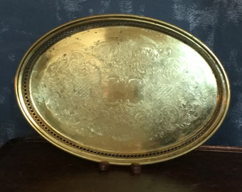 Brass Tray Oval Tray Ornate Scroll Design with Cut-Outs 14""