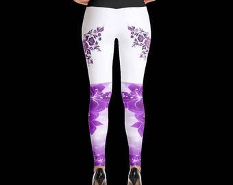 flower embroider leggings